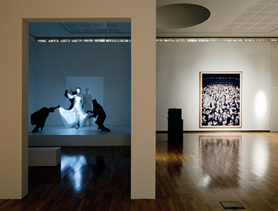 Gallery view with work by H. Chalayanand A. Gursky, Royal Academy London GSK Aware exhibition, design by Calum Storrie
