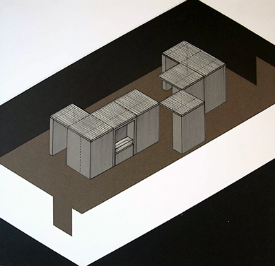 Axonometric drawing for a social history exhibition designed by Calum Storrie