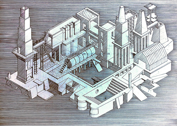 Drawing Works Four, axonometric of imaginary city by Calum Storrie