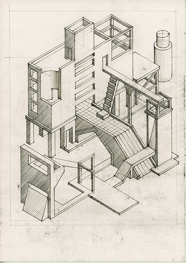 Drawing Works2002, axonometric of imaginary towers by Calum Storrie