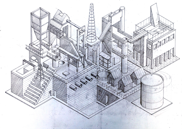 Drawing 003, axonometric of imaginary city by Calum Storrie