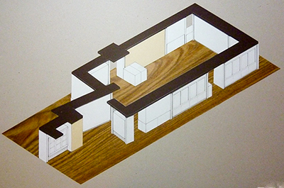 Grant Museum of Zoology, University College London, isometric exhibition design drawing by Calum Storrie