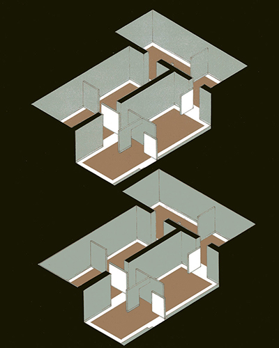 Axonometric drawing for a painting exhibition; designed by Calum Storrie