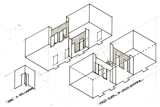 Axonometric drawing of Dr Johnson's House
